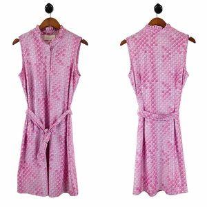 Cappagallo NWT Pink Tess Ruffle Neck Dress 10